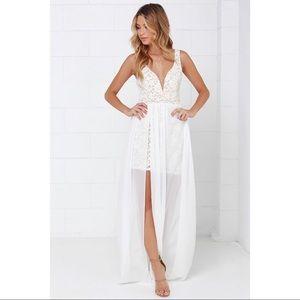 Lulu's Ark & co. White sheer maxi dress slit